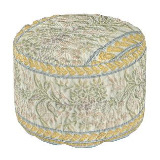 French Embroidered Flower Fabric Look Pouf