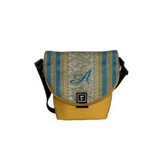 French Embroidered Tapestry Look Custom Monogram Messenger Bag