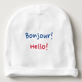 "French & English Baby: ""Bonjour!"" and ""Hello!"" Baby Beanie"