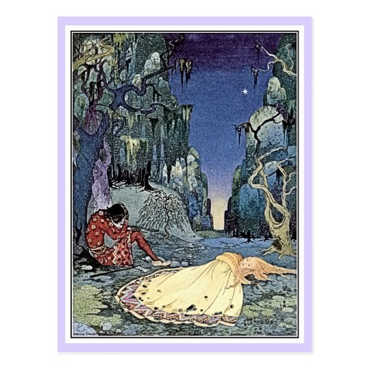 French fairy tales: Violette and Ourson sleeping Postcard