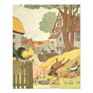 French Farm Animals Illustrated Photo Print