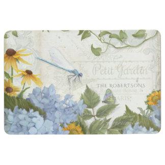 French Farmhouse Vintage Floral Dragonfly Script Floor Mat