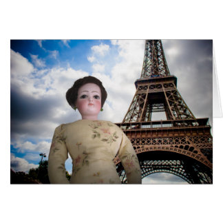 French Fashion Doll w Eiffel Tower Card