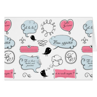 French Fashion Style Speech Bubbles Card