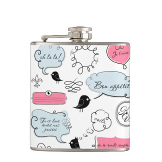 French Fashion Style Speech Bubbles Hip Flask