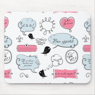 French Fashion Style Speech Bubbles Mouse Pad