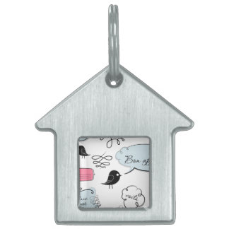 French Fashion Style Speech Bubbles Pet Tag