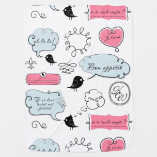 French Fashion Style Speech Bubbles Swaddle Blankets
