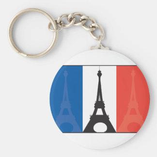 French Flag and Eiffel Tower Keychain