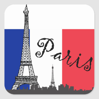 French Flag and the Eiffel Tower Square Sticker