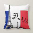 French Flag and the Eiffel Tower Throw Pillow