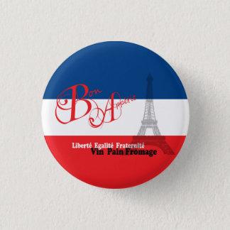 French Flag Eiffel Tower Bon Appetit 1 Inch Round Button
