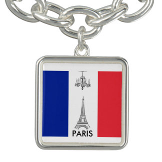 French Flag Eiffel Tower Paris Charm Bracelet