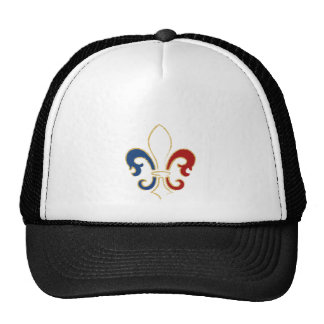 French Flag Fleur de Lis with Gold Trucker Hat