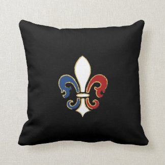 French Flag Fleur de Lis with Gold Throw Pillow