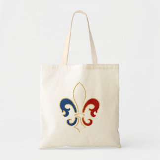 French Flag Fleur de Lis with Gold Tote Bag