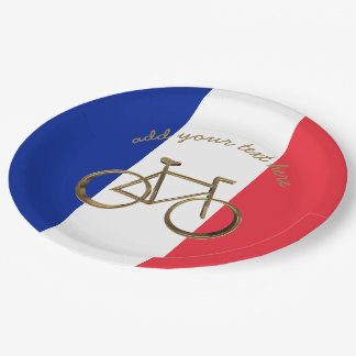 French Flag France Bike Bicycle Cycling Cyclist 9 Inch Paper Plate