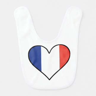 French Flag Heart Bib