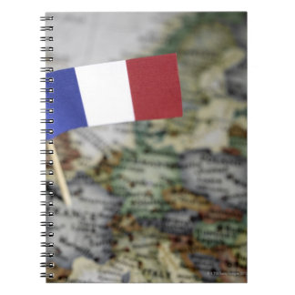 French flag in map notebook