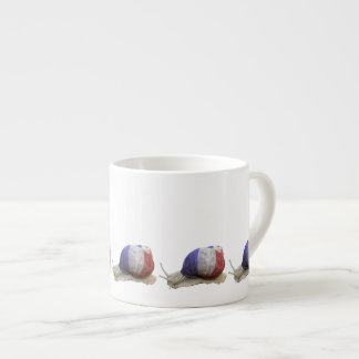 French flag snail espresso cup