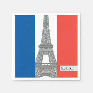 French Flag, Vive la France, Bastille Day Party Paper Napkin