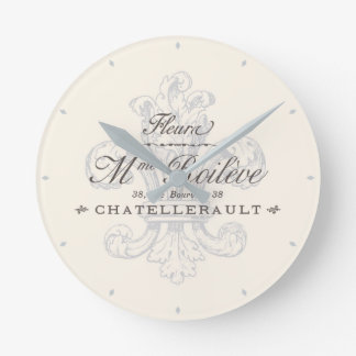 French Fleur de Lis Chatellerault Gray Round Clock