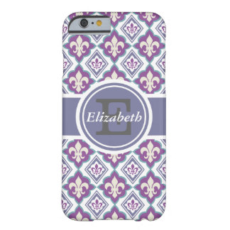 French Fleur de Lis Pattern Personalized Monogram Barely There iPhone 6 Case