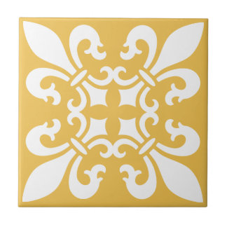 French Fleur de Lys Pattern Customizable Color Tile