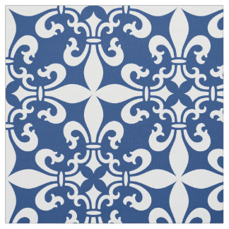 French Fleur de Lys Pattern Royal Blue Fabric