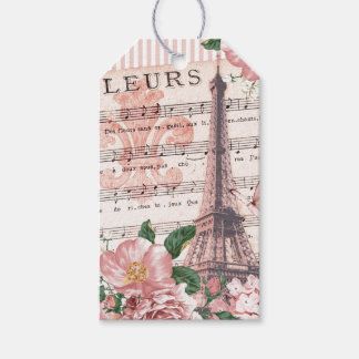 French Fleur Eiffel Tower Collage Pink Gift Tags