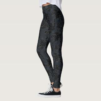 French floral back on black leggings