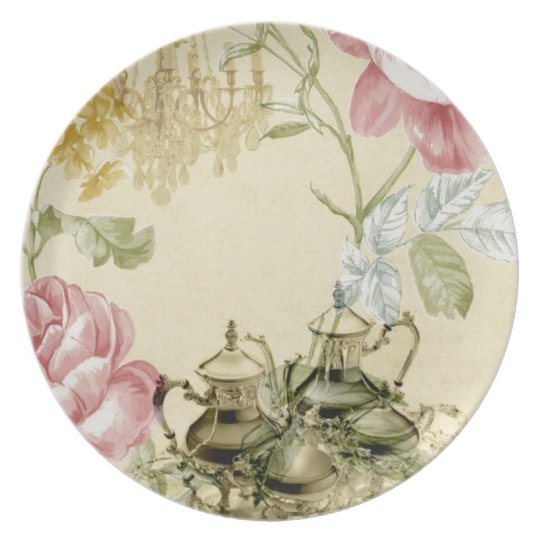 French floral Teacup Teapot Paris Tea Party Plate