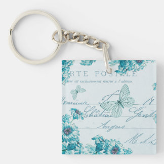 French floral vintage keychain w/ blue flowers