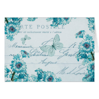 French floral vintage note card w/ blue flowers