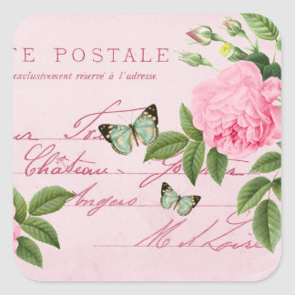 French floral vintage sticker w/ pink rose