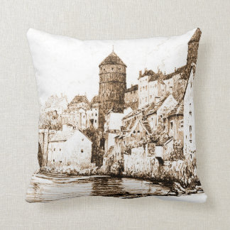French Fortified Town 1922 Throw Pillows