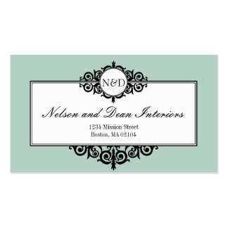 French frame blue monogram professional business card