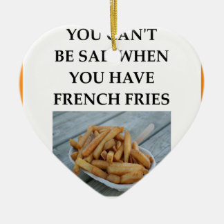 FRENCH FRIES CERAMIC HEART ORNAMENT