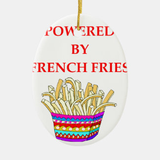 FRENCH FRIES CERAMIC OVAL ORNAMENT