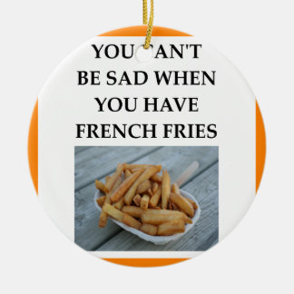 FRENCH FRIES ROUND CERAMIC ORNAMENT