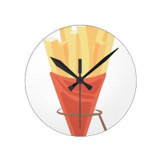 French Fries Round Clock