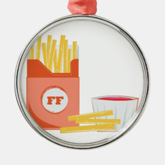 French Fries Silver-Colored Round Ornament
