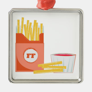 French Fries Silver-Colored Square Ornament