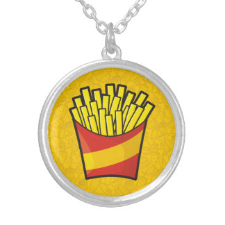 French Fries Silver Plated Necklace
