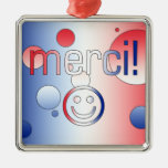 French Gifts : Thank You / Merci + Smiley Face Christmas Tree Ornament