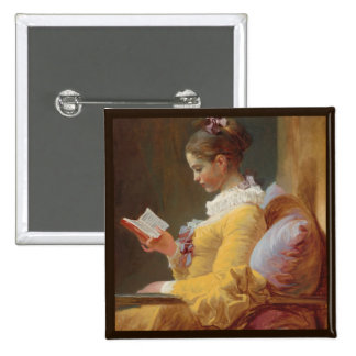French Girl in Yellow Dress Reading 2 Inch Square Button