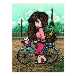 French Girl & Puppy Paris Bicycle Art Postcard