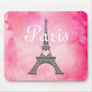 French Girly Pink Watercolor Paris Eiffel Tower Mouse Pad