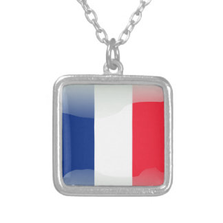 French glossy flag silver plated necklace