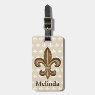 French Gold Fleur de Lis Crest & Name Luggage Tag